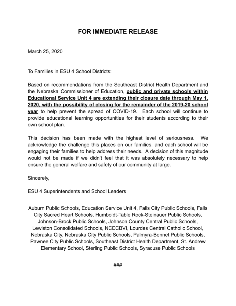March 25th Press Release from ESU 4 Schools