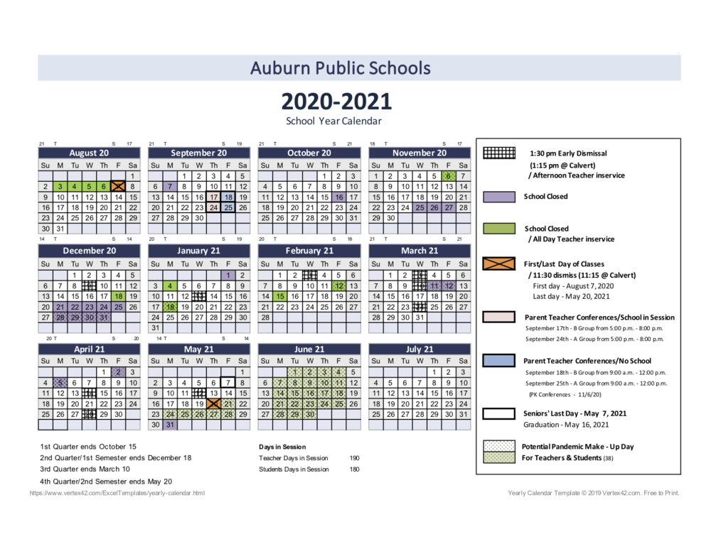 School Calendar - Updated 12.14.2020