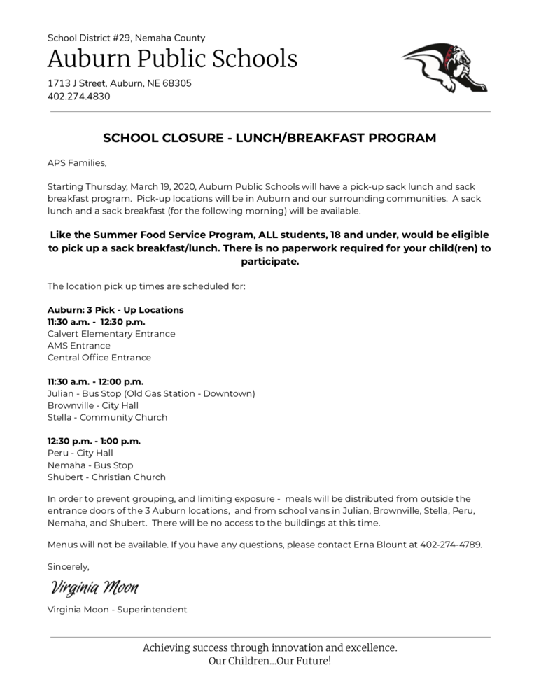 Pick-Up Sack Lunch/Breakfast Program