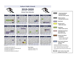 2019 - 2020 Updated School Year Calendar