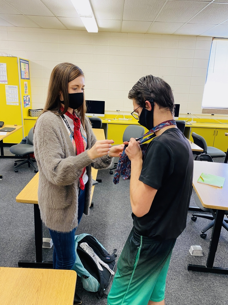 Mrs. Gerdes practiced tying ties today with her Careers class.