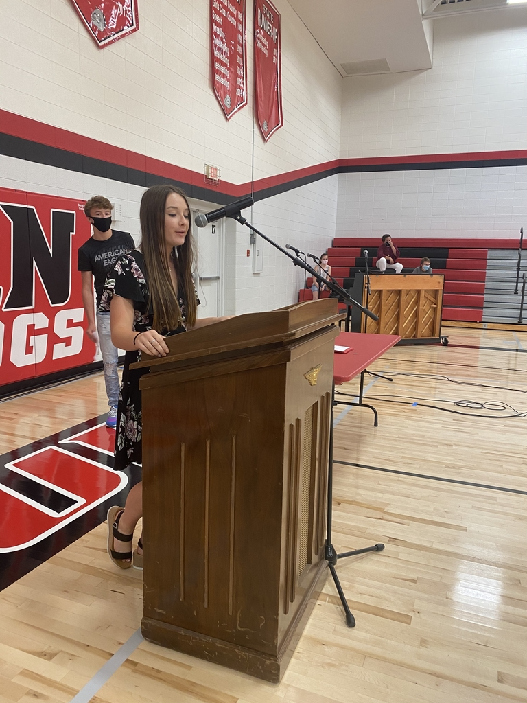 Maverick Binder and Madelyn Jones gave speeches to the class at 8th grade graduation today.