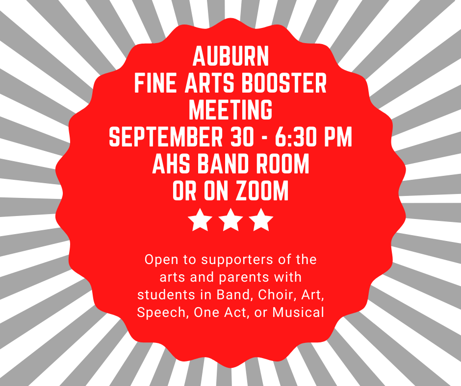 Fine arts booster meeting September 30 @6:30 PM